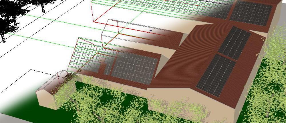 3D ontwerp tekening van een zonnepaneelsysteem